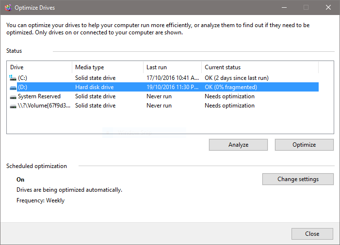 optimize drives screenshot