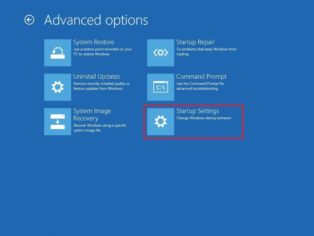 advanced options startup settings