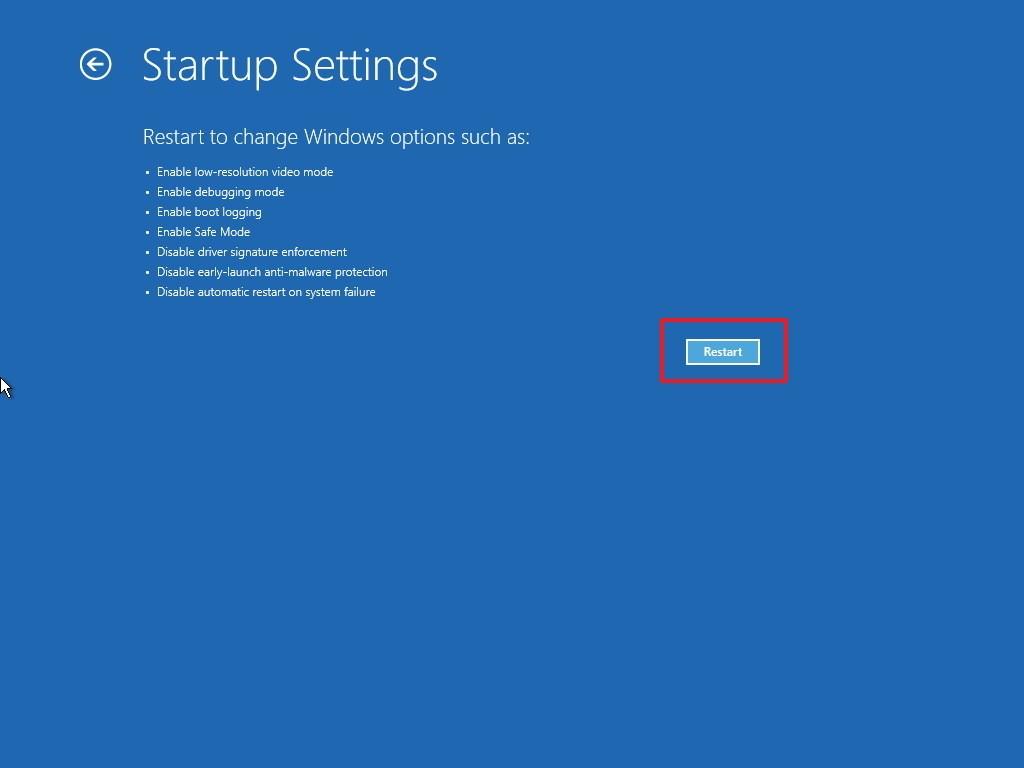 startup settings restart